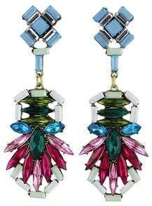 Multicolor Gemstone Gold Earrings