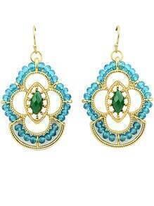 Green Gemstone Bead Gold Earrings
