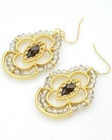 White Gemstone Bead Gold Earrings