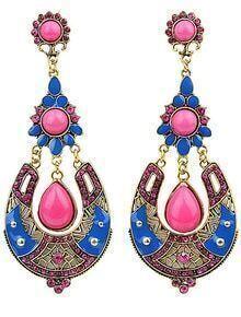 Red Drop Gemstone Gold Earrings