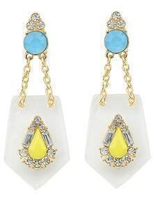 Yellow Gemstone Diamond Gold Earrings