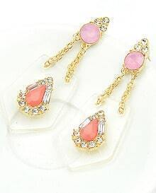 Red Gemstone Diamond Gold Earrings