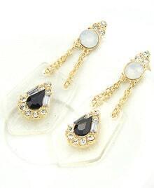 Black Gemstone Diamond Gold Earrings