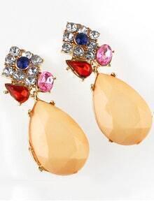 Apricot Drop Gemstone Diamond Earrings