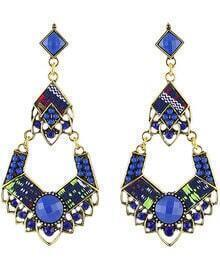 Blue Bead Gold Earrings