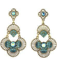 Blue Fan-shaped Diamond Gold Earrings
