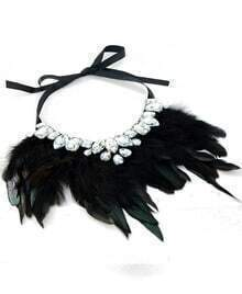 Black Feather Gemstone Necklace