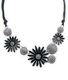 Black Flower Chain Necklace