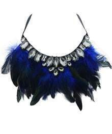 Blue Feather Gemstone Necklace