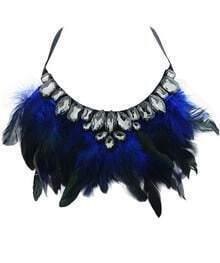 Blue Feather Gemstone Necklace
