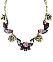 Gold Rose Gemstone Necklace