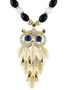 Gold Owl Gemstone Bead Necklace
