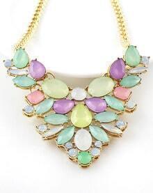 Multicolor Gemstone Gold Necklace