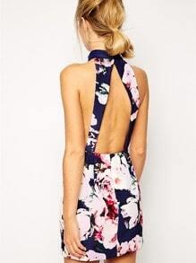 Blue Halter Backless Floral Print Dress