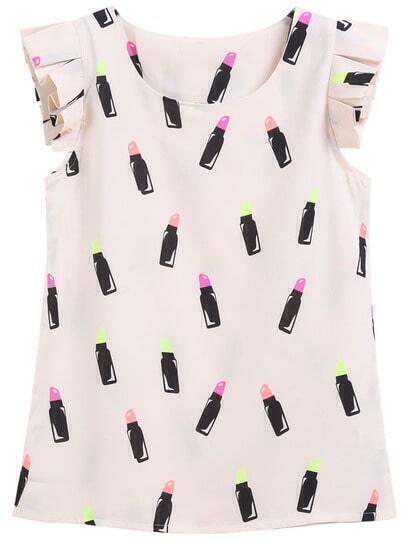 Apricot Ruffle Sleeve Lipstick Print Blouse