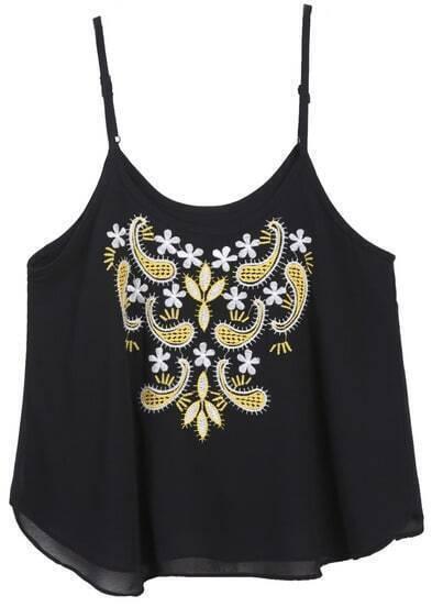 Black Spaghetti Strap Embroidered Chiffon Vest