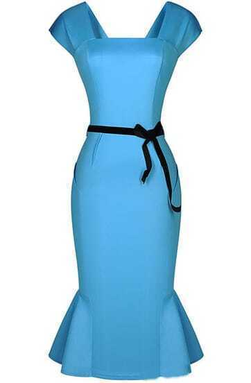 Blue Cap Sleeve Backless Ruffle Bodycon Dress