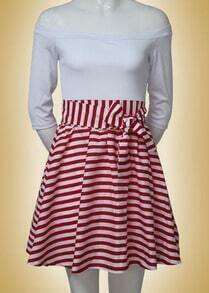 Red Boat Neck Striped Flare Dress