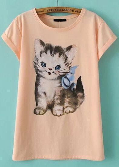 Pink Short Sleeve Cat Print T-Shirt