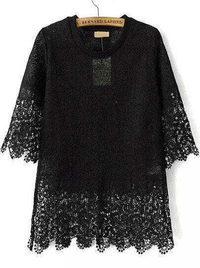 Black Short Sleeve Hollow Floral Crochet Blouse