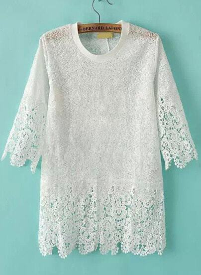 White Short Sleeve Hollow Floral Crochet Blouse