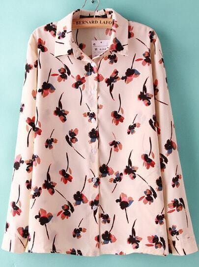 Pink Lapel Long Sleeve Floral Blouse