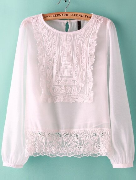 White Long Sleeve Embroidered Chiffon Blouse $11.17 AT vintagedancer.com