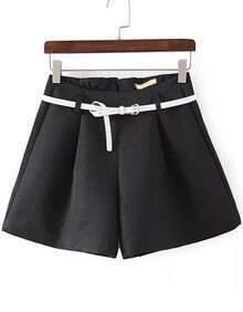 Black Belt Loose Shorts