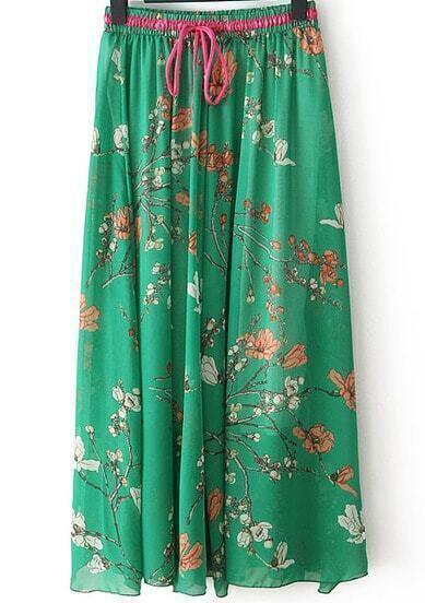 Green Plum Flower Print Pleated Skirt