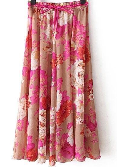 Red Peony Print Pleated Skirt