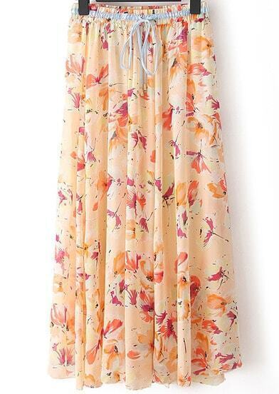 Pink Butterfly Print Pleated Skirt