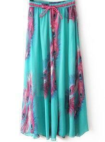 Green Feather Print Pleated Skirt