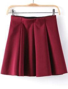 Wine Red Pleated Flare Skirt