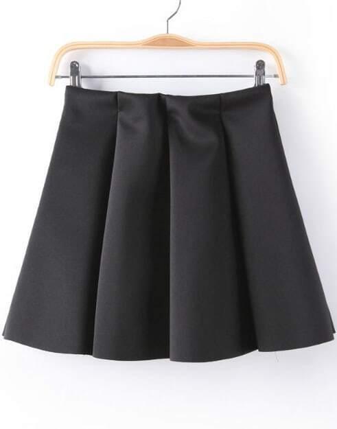 black pleated flare skirt shein sheinside