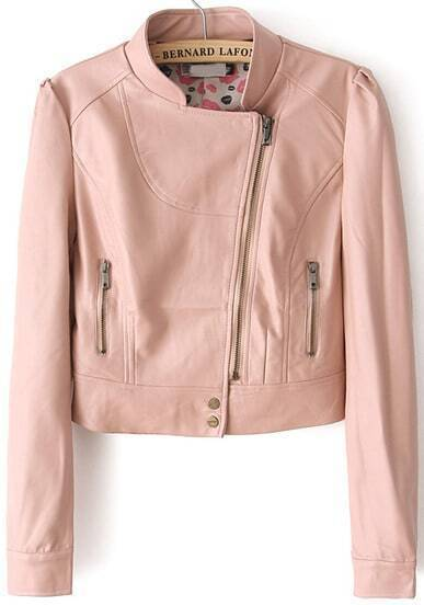 Pink Stand Collar Crop PU Jacket