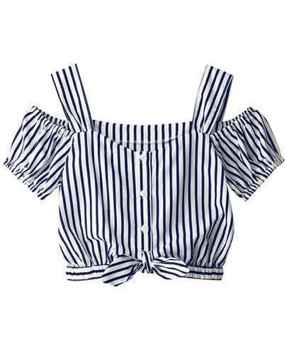 Blue Strap Puff Sleeve Vertical Stripe Blouse