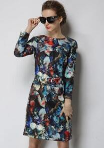 Multicolor Long Sleeve Floral Slim Dress