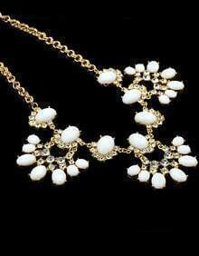White Gemstone Gold Diamond Necklace