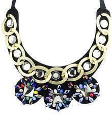 Gold Gemstone Chain Collar Necklace