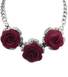 Silver Chain Rose Necklace