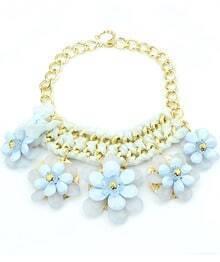 Blue Gemstone Flower Chain Necklace