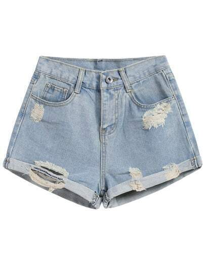 Shorts Denim franjas -azul