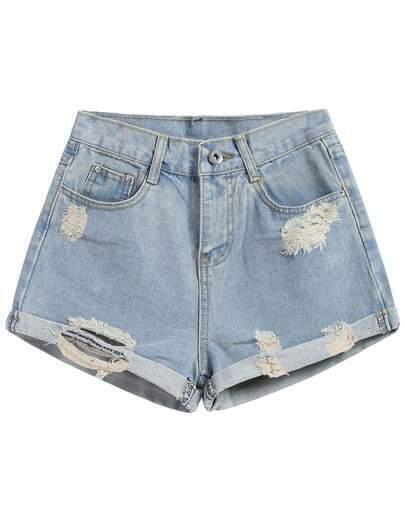 Denim Shorts mit Saumaufschlag und zerrissenen Design-blau