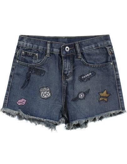 Navy Pockets Embroidered Fringe Shorts