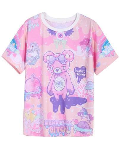 Pink Short Sleeve Bear Print T-Shirt