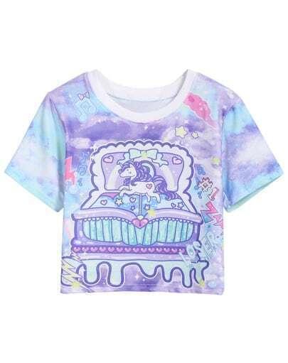 Purple Short Sleeve Music Box Print Crop T-Shirt