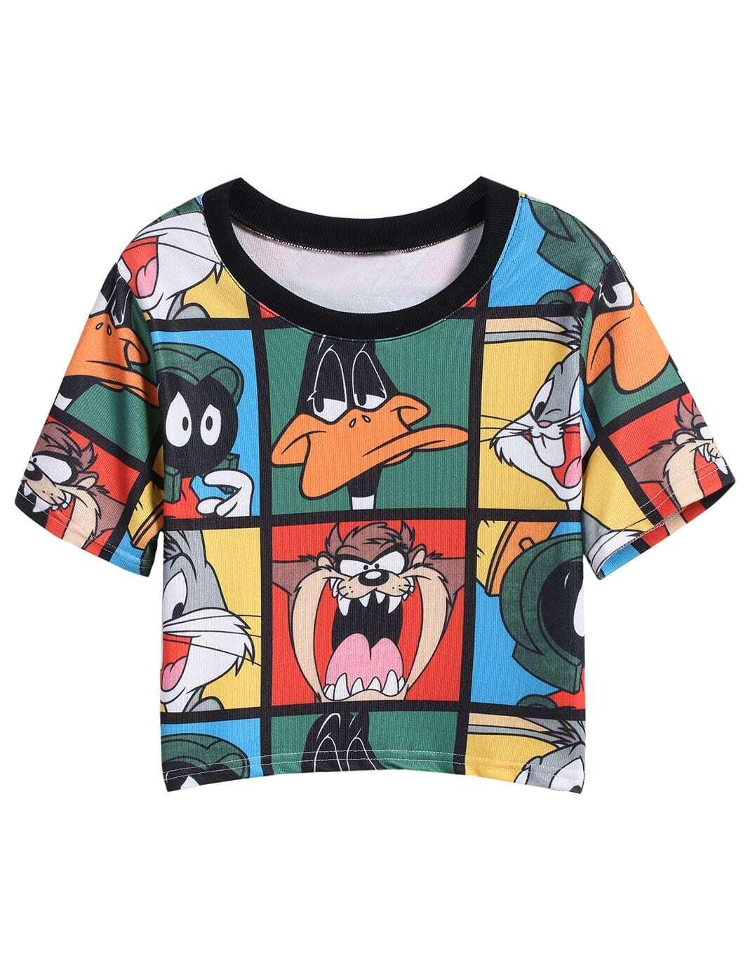 multicolor short sleeve cartoon print t shirt shein