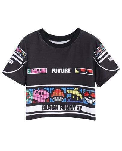 Black Short Sleeve Digital Print Crop T-Shirt