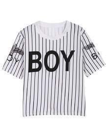 White Short Sleeve Vertical Stripe BOY Print T-Shirt