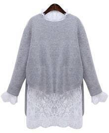 Grey Long Sleeve Dip Hem Sweater With Lace Dress